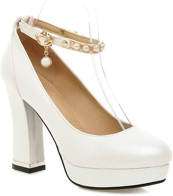 AdeeSu Ladies Metal Ornament Platform Low-Cut Uppers Polyurethane Pumps shoes