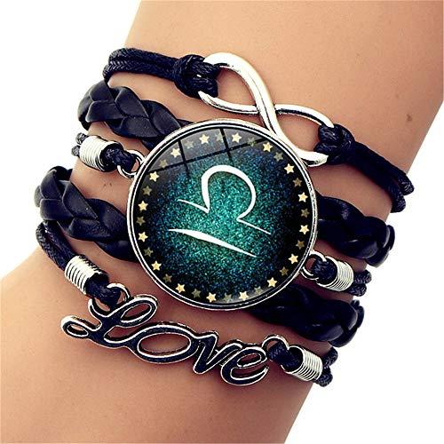 SLVVL Twaalf Constellatie Weegschaal Tijd Gem Armband Liefde Letters Vintage Multilayer Gevlochten Armband
