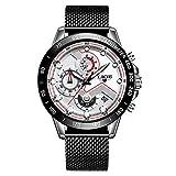 MHCYKJ Moda Casual para Hombre Reloj para los Hombres Fecha de Cuarzo Relojes del cronógrafo del Deporte Cinturón de Malla de Acero del Reloj Hombre,Blanco