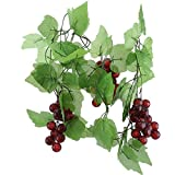 RUJFISH 5PCS Artificial Greenery Chain Grapes Vines Leaves Foliage Simulation Fruits for Home Room Garden Wedding Garland Outside Decoration,Large Grape Vines (2 Pieces)