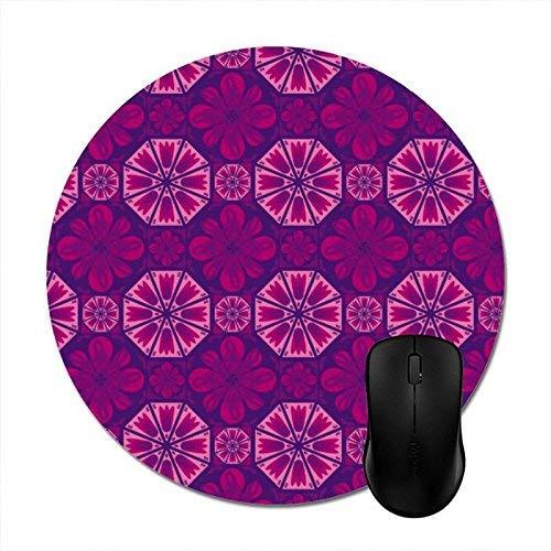 Fliesen Pink Lila Optimale Gleitfähigkeit Mausmatte,Schreibtischunterlage,Runde Mausunterlage,20CM,Gummiunterseite Maus Pad