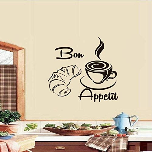 Muursticker Bon Appetit Franse Koffie Lepel Chef Muursticker Restaurants Eetdecoratie Keuken Decals Vinyl Verwijderbare Wallpap 44 * 46Cm