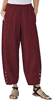 OVERDOES Women Plus Size Corduroy Trousers Casual Button High Waist Loose Pants Pocket