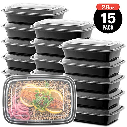 15-Pack Meal Prep Plastic Microwavable Food Containers with Tight Safety Lid Covers (28 oz.) - Black Rectangular Reusable Storage Lunch Boxes - BPA-Free Food Grade - Freezer & Dishwasher Safe