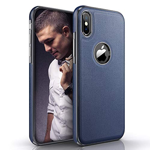 LOHASIC iPhone X Case & iPhone Xs Case, Thin Slim Luxury Leather Business PU Cover Soft Non-Slip Grip Flexible Bumper Shockproof Full Body Protective Phone Cases for iPhone X 10 Xs 5.8 inch (Blue) -  43531-108266