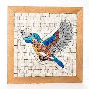 Kit mosaico Despegar (gorrión al vuelo) 23x23 cm - Teselas para mosaicos de mármol italiano y cristal de Murano - Idea regalo original