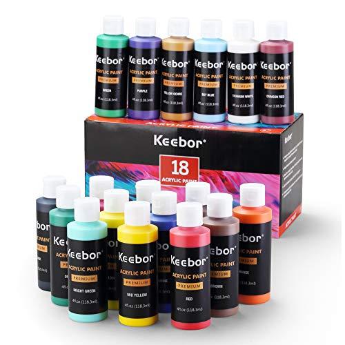 Keebor Artist Grade Acrylic Paint Set, 18 Colors (4oz, 120ml/each) for Art Painting, Safe & Non-Toxic