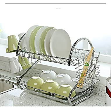2-Tier Dish Rack and DrainBoard, 20  x15 x10  Kitchen Chrome Cup Dish Drying Rack Tray Cultery Dish Drainer