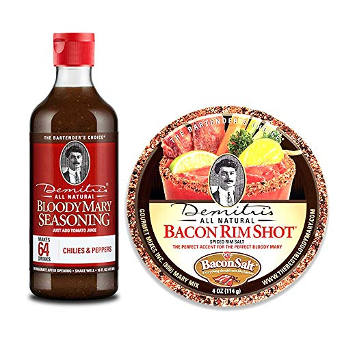 Demitri's Bloody Mary Seasoning All Natural Chillies and Peppers (16 Fl Oz) and Bacon Rim Shot Rimming Spiced Rim Salt (4 Oz) Twin-Pack — For Margarita Mix and Shot Glasses