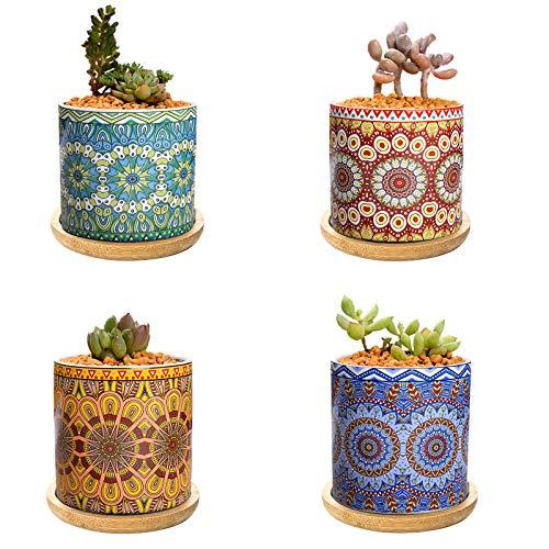 TStarJungle 4 x 7,5 cm Sukkulentententopf, bunte Keramik-Kaktus-Pflanztöpfe, Mini-Blumentöpfe/Behälter/Pflanzgefäß mit Bambus-Tablett, für Zuhause und Büro, Fensterbank-Dekoration (keine Pflanzen)