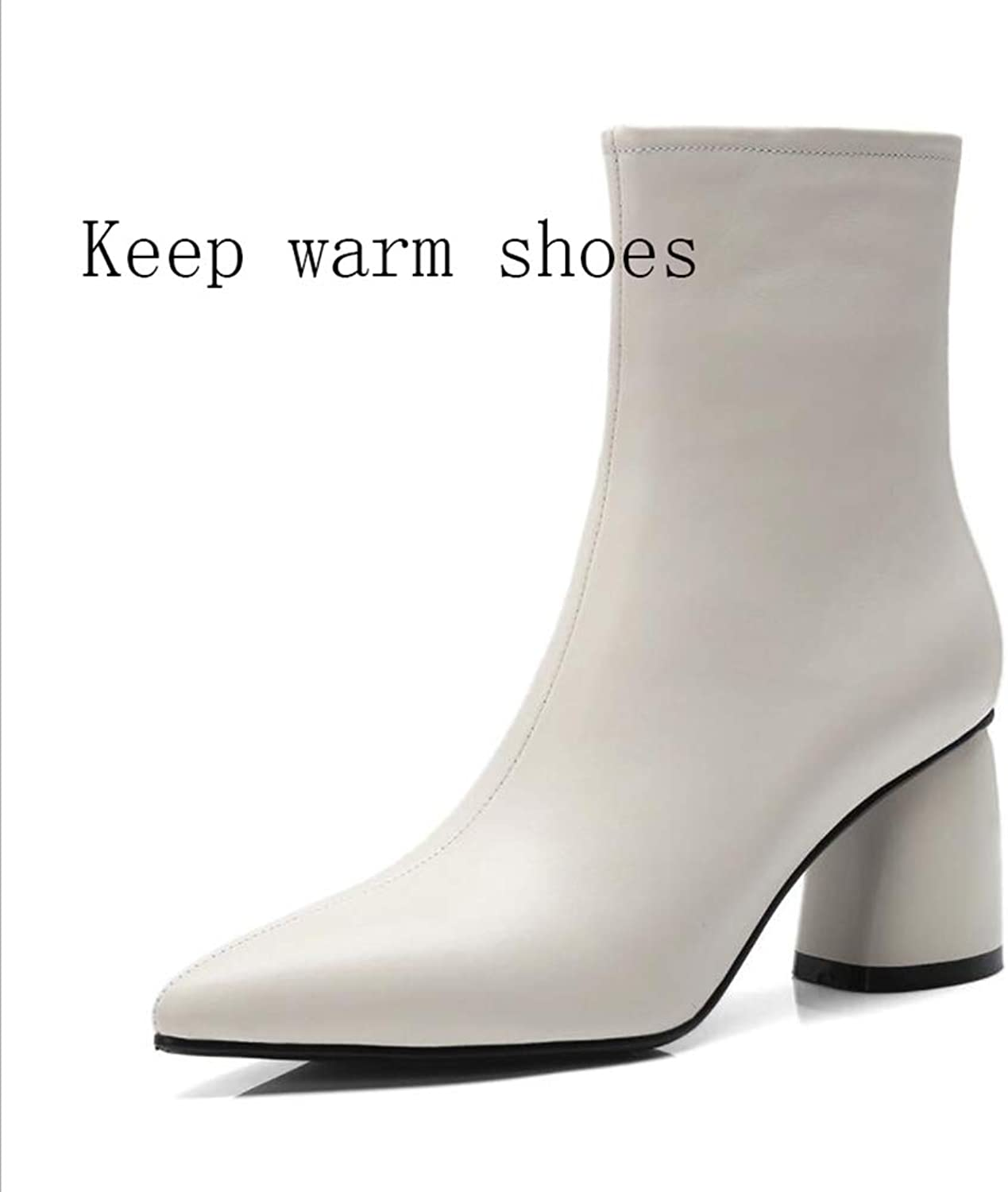 Women's shoes, Leather Winter Warm Pointed shoes Leather Boots Thick Heel Ankle Boots Mid-Calf Boots Formal Boots High Heel (color   A, Size   37)