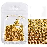 Cuentas de metal redondas de acero inoxidable 3D para decoración de uñas de caviar DIY cuentas de metal oro plata/oro rosa opcional, 0,6 mm de maquillaje, manicura mini bola