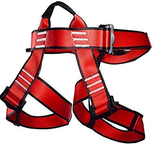Newdoar Arnés de Escalada, para Mujeres, Hombres, niños, Medio Cuerpo, Cinturones de Seguridad para montañismo, Escalada en Roca, Equipo de Rappel, Rojo