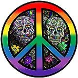 レインボーウォリアー LGBT ピースシンボルステッカー - ゲイプライド スカル ピースサインビニールデカール 3 x 3インチ | カーバンパー ウィンドウ ノートパソコン 投票 ジョー バイデン カマラ ハリス 副大統領 磁石がくっついてくれます。