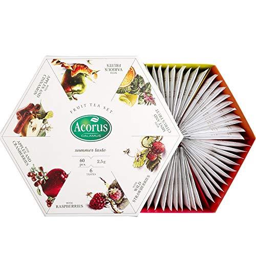 ACORUS Summer Taste – juego de té de frutas naturales de seis sabores diferentes en una hermosa caja de presentación (60 bolsitas de té)