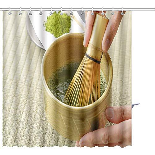 Alan Connie Duschvorhang Japanischer Maccha Grüner Tee Grafikdruck Polyestergewebe Mit 12 Haken,48X72 Inch/H183 X W122 cm