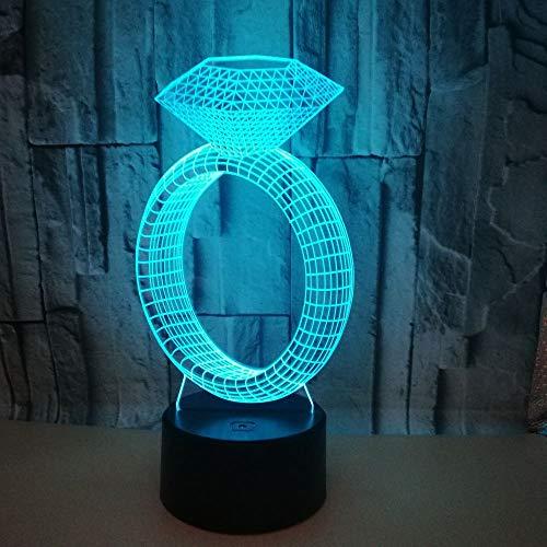 3D illusie Light Optische ring met diamanten, 7 kleurverandering, LED-nachtlampje, voor nachtkastje, slaapkamer, huis, decoratie, kerstcadeau, verjaardag voor kinderen