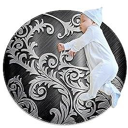 Carpettes Rondes diamètre 27,6 Pouces Rotin d'argent en métal Tapis Doux drôle antidérapant pour la décoration de…