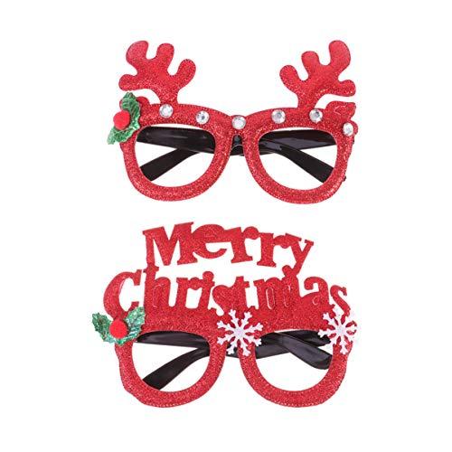 Amosfun 2 paar brillen pluche kerstmuts kerst rode hoed kerstman baard rendier kerstboom bril Unisex brillen cosplay kostuum kerstfeest decoraties M Picture 1