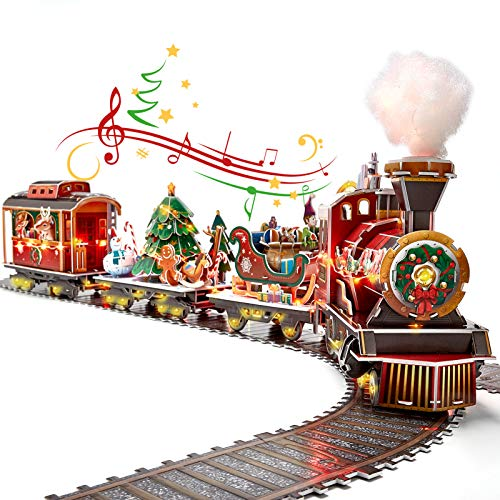 CubicFun 3D Puzzles for Adults Kids LED Christmas Tree Train Sets for Under Christmas Tree, Musical Steam Santa Express Christmas Puzzle Decorations with Lights, Gifts for Women Men, 218 Pieces