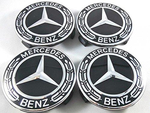Ersatzteil für Mercedes Benz Durchmesser: 75mm Radzierdeckel Lorbeerkranz schwarz silber Kappe Deckel Nabendeckel Radnabenabdeckung Wheel Cap Radnabendeckel Zierdeckel 4 Stück