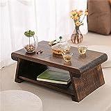 CHABUDAI Japanese Antique Tea Table Folding Legs Asian Floor Low Tea Table Wood (Large:80x40x 33cm, ONE)