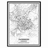 Paderborn Deutschland Karte Wandkunst Leinwand drucken