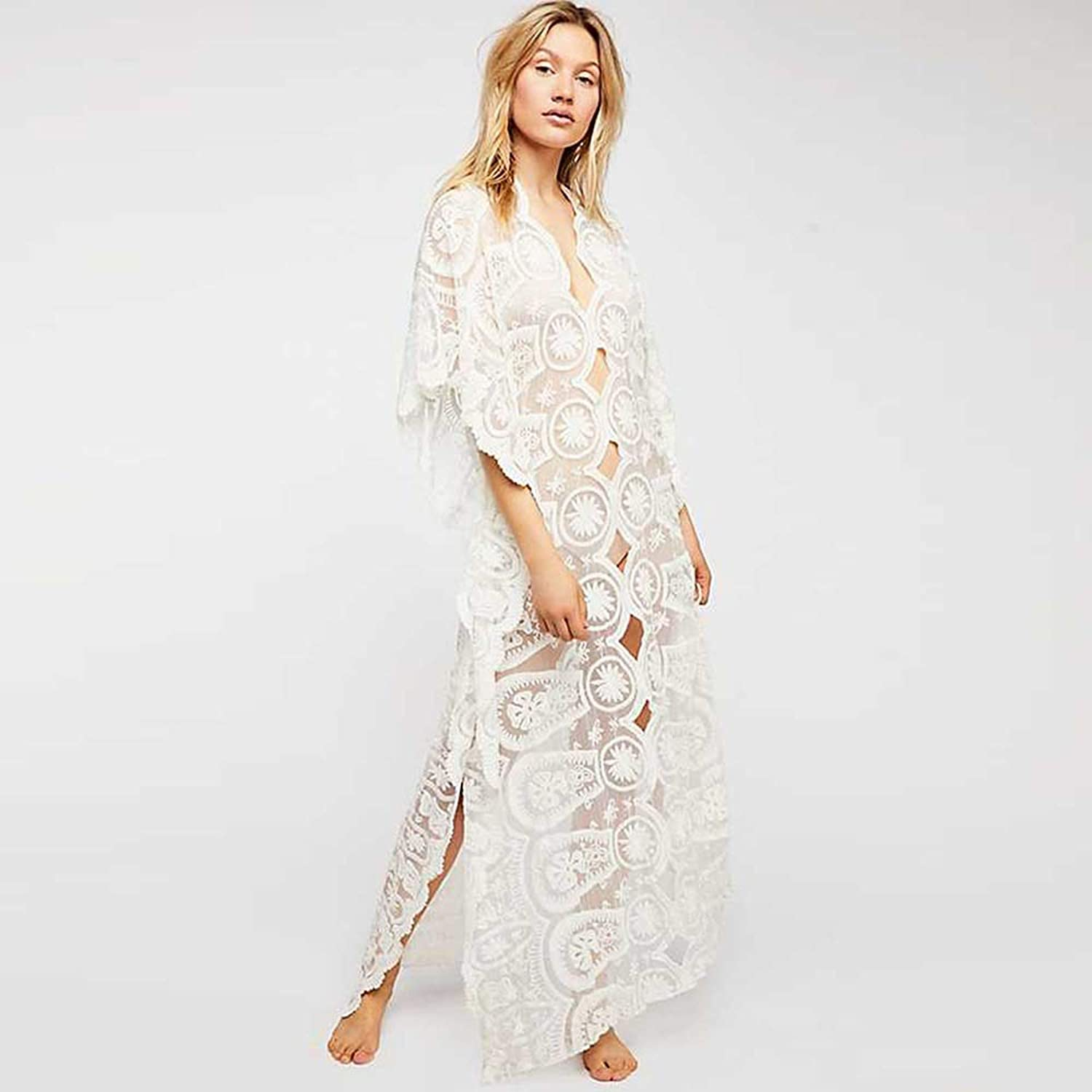 Women's Skirts Woman Lace Dress with Sleeve VNeck SevenQuarter Sleeve Hollow Solid color Slim Fit Sexy Beach, Vacation (color   White, Size   L)