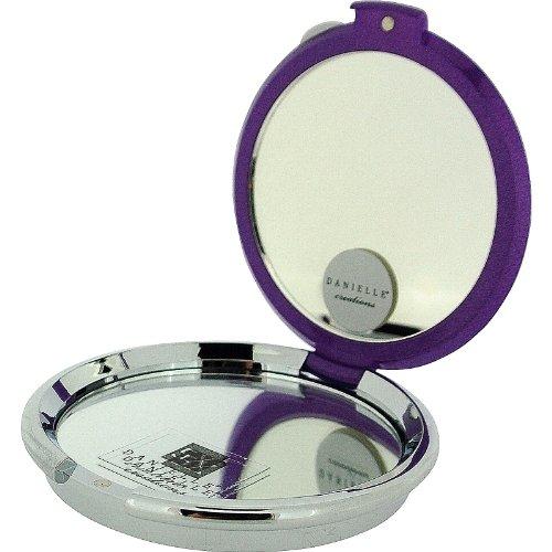 Danielle Miroir compact Grossissement 5 x – MIROIR ROND Violet 8 cm avec cristaux Swarovski fini or 18 carats
