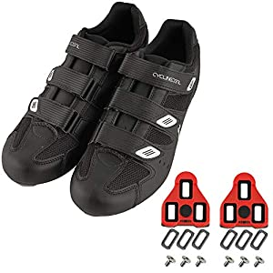 CyclingDeal Bicycle Road Bike Universal Cleat Mount Men's Cycling Shoes Black with 9-Degree Floating Look ARC Delta Compatible Cleats Compatible with Peloton Indoor Bikes Pedals Size 44