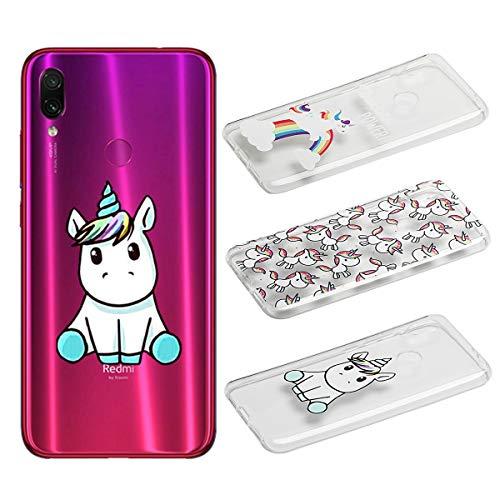 [3 Pack] Cover per Xiaomi Redmi 7, Weideworld 3D Creativa Cover TPU Gel Silicone Bumper Protettivo Custodia Case Cover per Xiaomi Redmi 7, Unicorno