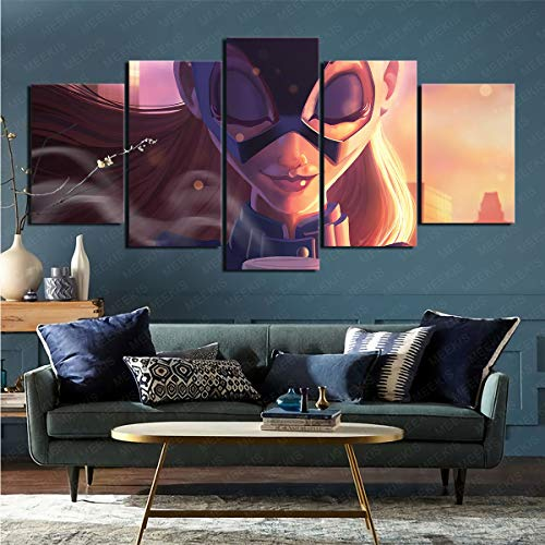 CELLYONE Art Print on Canvas Wall Exquisite Cartoon Batgirl Suitable for Restaurant Hotel 100x50cm Frameless