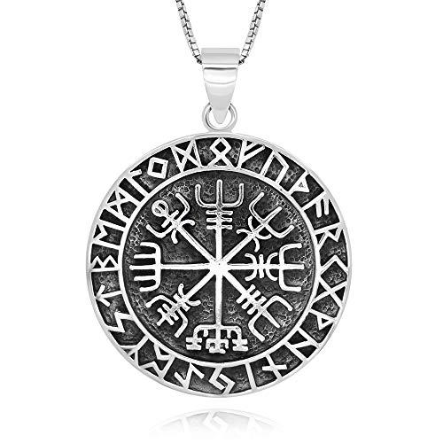 Colar com pingente de prata esterlina 925 Vegvisir Norse Runes Viking Compass, 45,72 cm