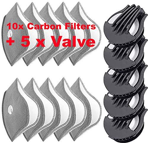 5-lagigem Filter Carbon Plus 5X Velve Staub Schutz Ersatzfiltern Anti Pollen Allergie Motorrad Outdoor aktivitäten 4sold