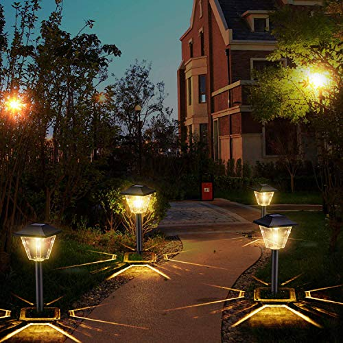 Solar Powered Garden Lights - 6 Pack Square Waterproof Outdoor Path Lights Solar Powered For Path Patio Lawn Backyard Landscaping Lighting