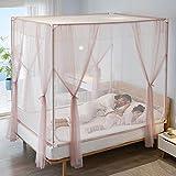 Mosquitera Tipo de cama Mosquitera con cremallera superior cuadrada de tres puertas Pasta de frijoles romántica Cama de 1,5 m (5 pies)