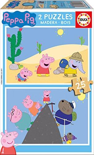 Peppa Pig - Puzzle de Madera, 2 x 25 Piezas (Educa Borrás 1