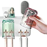 WAYCOM 2021 Luxurious Toothbrush Holder Wall Mounted-Multifunctional Couple Toothpaste Holder Electric Toothbrush Holder 2 Cups,4 Toothbrush Slots 2 Organizer Storage Compartments(white-2Cups)