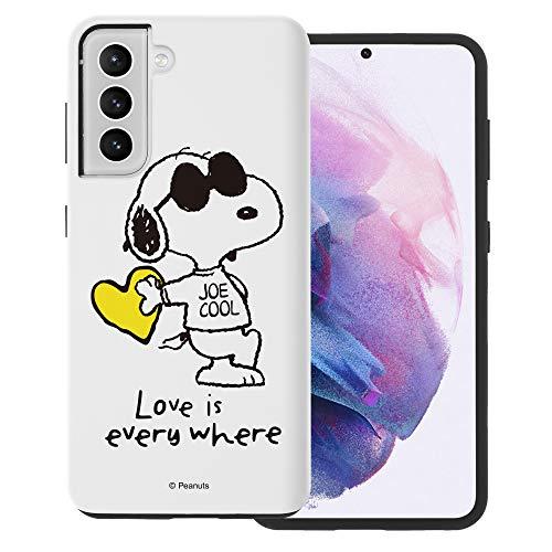 """Galaxy S21 ケース と互換性があります Peanuts Snoopy ピーナッツ スヌーピー ダブル バンパー ケース デュアルレイヤー 【 ギャラクシー S21 ケース (6.2"""") 】 (スヌーピー な愛 黄) [並行輸入品]"""