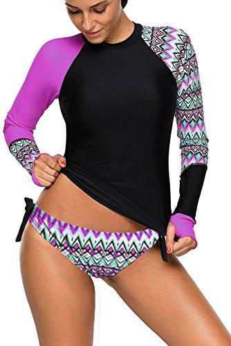 REKITA Womens Long Sleeve Rashguard Shirt Color Block Print Tankini Swimsuit (L, Purple)