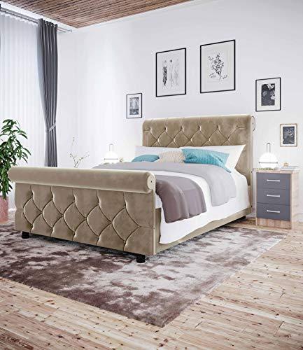 Manchester Furniture Supplies Jasmine Chesterfield Velvet Sleigh Bed 6ft Super Kingsize (Coffee)