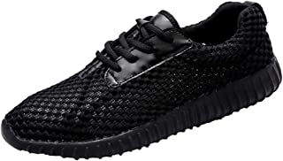 Shangruiqi Fashion Sneakers for Men Walking Shoes Lace Up Mesh Upper Experienced Stitched Cushioning Anti Slip Lightweight Leisure Tide Anti-Wear (Color : Black, Size : 8 UK)