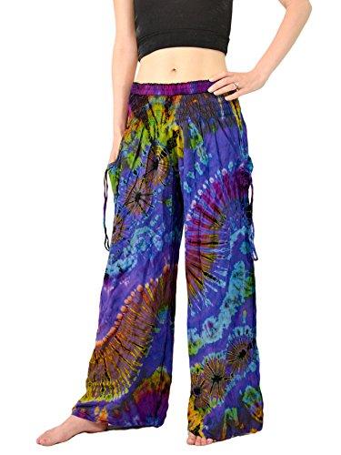 Orient Trail Women's Bohemian Yoga Wide Leg Palazzo Tie Dye Pants Large Sea Blue
