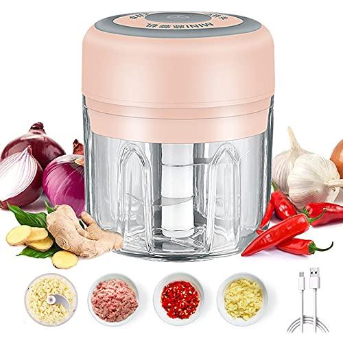 Picador de Alimentos Eléctrico, Machacador de Ajo Eléctrico, 250 ml Eléctrico Trituradora...