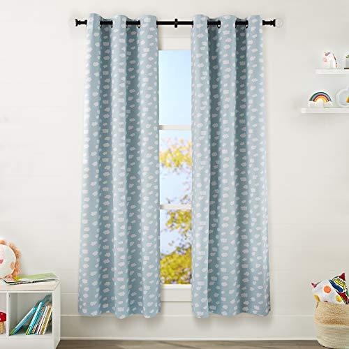 "Amazon Basics Kids Room Darkening Blackout Window Curtain Set with Grommets - 42"" x 84"", Clouds"