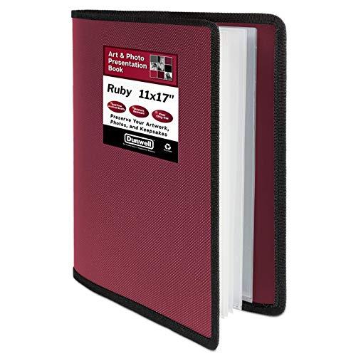 Dunwell Art Portfolio 11x17 Folder - (Ruby), Large Portfolio Folder for Artwork, 11 x 17 or A3 Art Folder has 24 Pockets, Display 48 Pages, Portfolio Presentation Book with Clear Sheet Protectors