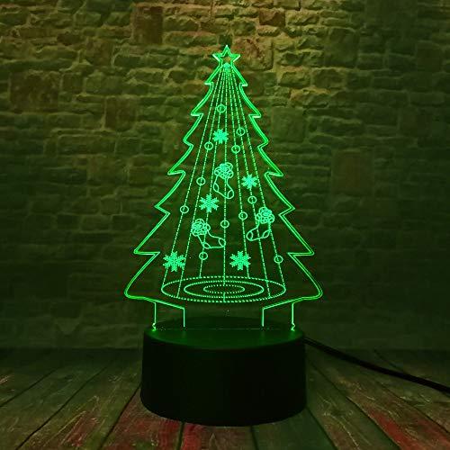 Weihnachtsbaum Hologramm 3d Lampe Nachttischlampe, 7 farben Nachtlicht fürs Kinderzimmer,Schlafzimmer Schreibtischlampe für Kids'Gifts Home Dekoration