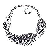 Niaofeces Collares Colgantes Mujer Dama De Aleación Exagerada Hoja Clavícula Collar Cadena Decoración Joyería-Plata