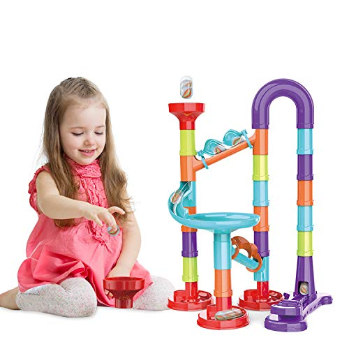 Atoymut Marble Run Set for Kids STEM Toys Construction Building Blocks for 3 4 5 6 7 8 9 Year Old Boys Girls (Small