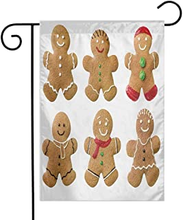 Zzmdear Custom Garden Flag, Colorful Design, Vivid Homemade Biscuits Sugary Xmas Treats Sweet Tasty Pastry, Pale Brown Red Green, 12
